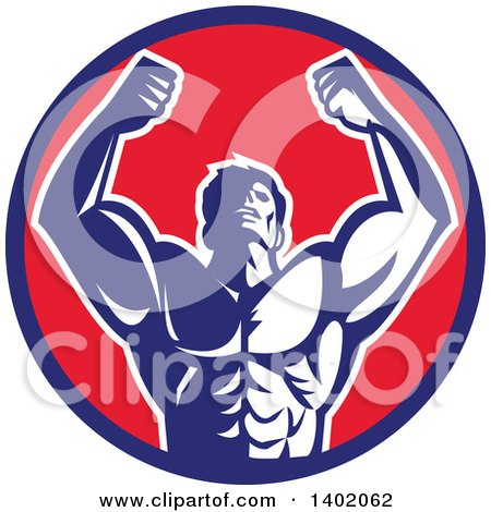 Clipart of a Retro Strong Male Bodybuilder Holding His Arms up and Flexing in a Blue Red and White Circle - Royalty Free Vector Illustration by patrimonio