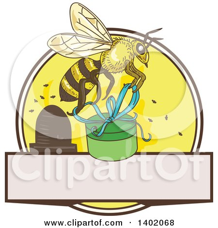 Sketched Worker Bee Flying With A Round Gift Box Over Circle Hive And Blank Space By Patrimonio