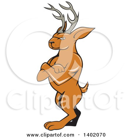 Clipart of a Cartoon Jackalope Standing with Folded Arms - Royalty Free Vector Illustration by patrimonio