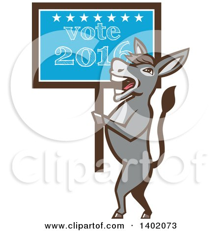 Clipart of a Retro Politician Democratic Donkey Holding a Vote 2016 Sign - Royalty Free Vector Illustration by patrimonio