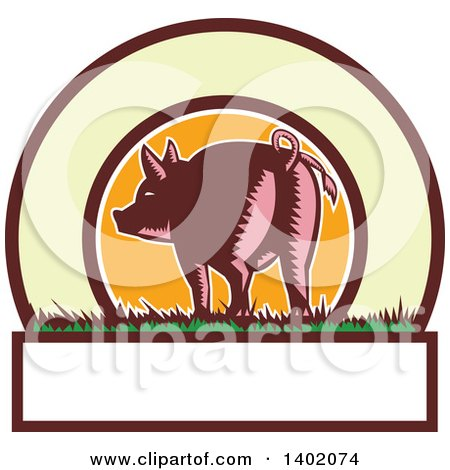 Clipart of a Retro Woodcut Rear View of a Pig with a Curly Tail in a Circle with Text Space - Royalty Free Vector Illustration by patrimonio
