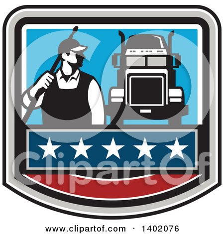 Clipart of a Retro Male Pressure Washer Worker Standing with a Wand over His Shoulder by a Big Rig Truck in a Crest - Royalty Free Vector Illustration by patrimonio