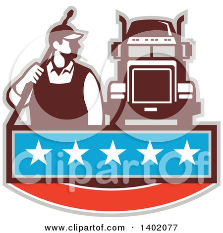 Clipart of a Retro Male Pressure Washer Worker Standing with a Wand over His Shoulder by a Big Rig Truck over a Banner with Stars - Royalty Free Vector Illustration by patrimonio