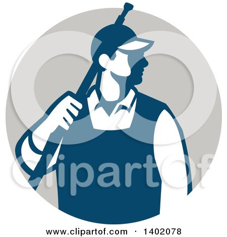 Clipart of a Retro Male Pressure Washer Worker Standing with a Wand over His Shoulder in a Gray Circle - Royalty Free Vector Illustration by patrimonio