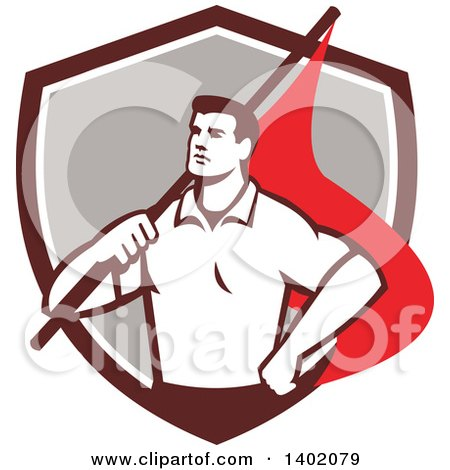 Clipart of a Retro Union Worker Man Holding a Flag over His Shoulder in a Brown White and Gray Shield - Royalty Free Vector Illustration by patrimonio