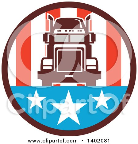 Clipart of a Retro Big Rig Truck in an American Circle - Royalty Free Vector Illustration by patrimonio