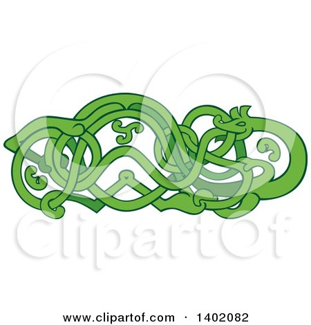 Clipart of a Retro Green Urnes Snake with an Extended Stomach - Royalty Free Vector Illustration by patrimonio