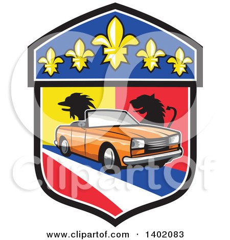 Clipart of a Retro Orange Cabriolet Convertible Coupe Car French Coat of Arms Crest - Royalty Free Vector Illustration by patrimonio