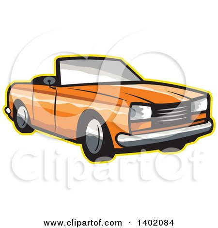 Clipart of a Retro Orange Cabriolet Convertible Coupe Car with a Yellow Outline - Royalty Free Vector Illustration by patrimonio