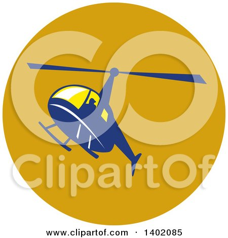 Clipart of a Retro Blue Helicopter Flying in a Circle - Royalty Free Vector Illustration by patrimonio