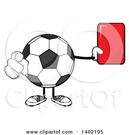 Clipart of a Cartoon Faceless Soccer Ball Mascot Character Pointing and Holding a Red Card - Royalty Free Vector Illustration by Hit Toon