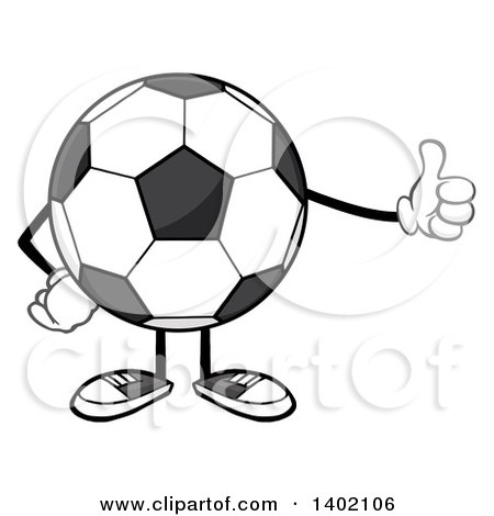 Clipart of a Cartoon Faceless Soccer Ball Mascot Character Giving a Thumb up - Royalty Free Vector Illustration by Hit Toon