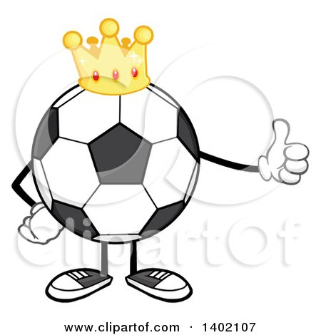 Clipart of a Cartoon Faceless Soccer Ball Mascot Character Wearing a Crown and Giving a Thumb up - Royalty Free Vector Illustration by Hit Toon