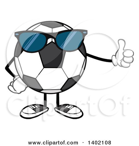 Clipart of a Cartoon Faceless Soccer Ball Mascot Character Wearing Sunglasses and Giving a Thumb up - Royalty Free Vector Illustration by Hit Toon