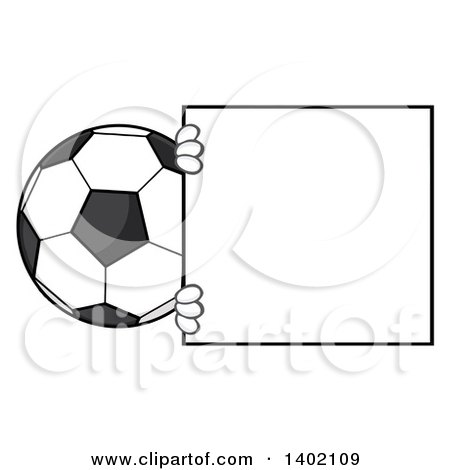 Clipart of a Cartoon Faceless Soccer Ball Mascot Character Looking Around a Blank Sign - Royalty Free Vector Illustration by Hit Toon