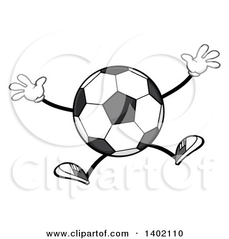 Clipart of a Cartoon Faceless Soccer Ball Mascot Character Jumping - Royalty Free Vector Illustration by Hit Toon