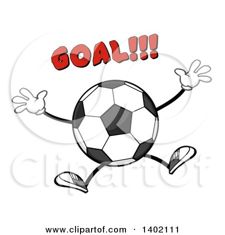 Clipart of a Cartoon Faceless Soccer Ball Mascot Character Jumping Under Goal Text - Royalty Free Vector Illustration by Hit Toon