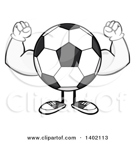 Clipart of a Cartoon Faceless Soccer Ball Mascot Character Flexing His Muscles - Royalty Free Vector Illustration by Hit Toon