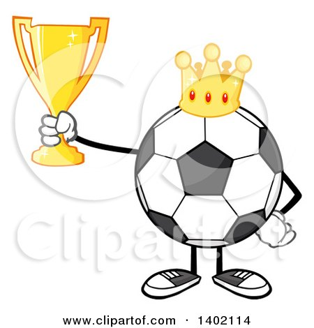 Clipart of a Cartoon Faceless Soccer Ball Mascot Character Wearing a Crown and Holding a Trophy - Royalty Free Vector Illustration by Hit Toon