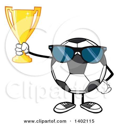 Clipart of a Cartoon Faceless Soccer Ball Mascot Character Wearing Sunglasses and Holding a Trophy - Royalty Free Vector Illustration by Hit Toon