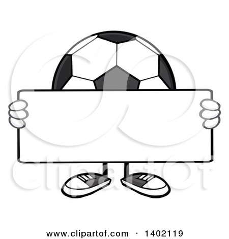Clipart of a Cartoon Faceless Soccer Ball Mascot Character Holding a Blank Sign - Royalty Free Vector Illustration by Hit Toon