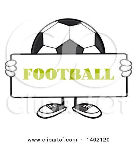 Clipart of a Cartoon Faceless Soccer Ball Mascot Character Holding a Football Sign - Royalty Free Vector Illustration by Hit Toon