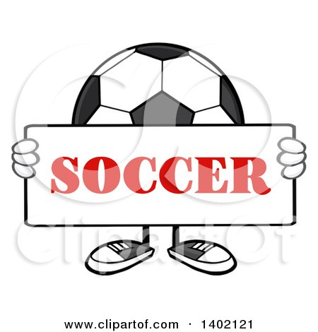 Clipart of a Cartoon Faceless Soccer Ball Mascot Character Holding a Sign - Royalty Free Vector Illustration by Hit Toon