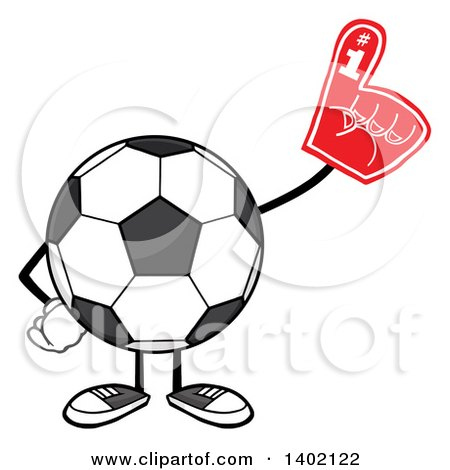 Clipart of a Cartoon Faceless Soccer Ball Mascot Character Wearing a Foam Finger - Royalty Free Vector Illustration by Hit Toon