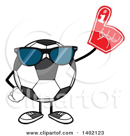 Clipart of a Cartoon Faceless Soccer Ball Mascot Character Wearing Sunglasses and a Foam Finger - Royalty Free Vector Illustration by Hit Toon