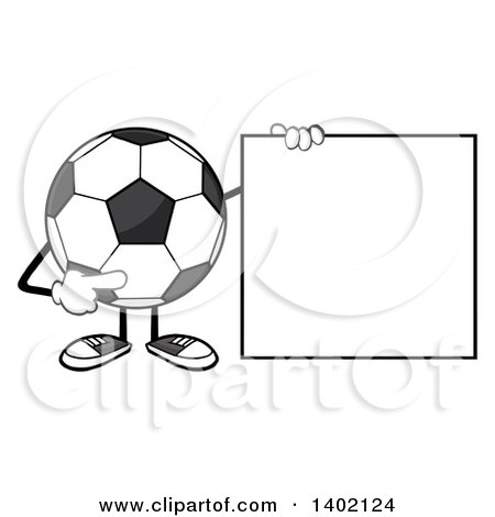 Clipart of a Cartoon Faceless Soccer Ball Mascot Character Pointing to a Blank Sign - Royalty Free Vector Illustration by Hit Toon