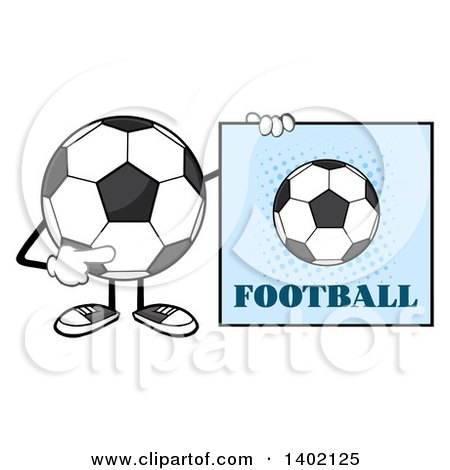 Clipart of a Cartoon Faceless Soccer Ball Mascot Character Pointing to a Football Sign - Royalty Free Vector Illustration by Hit Toon