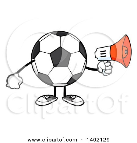 Clipart of a Cartoon Faceless Soccer Ball Mascot Character Using a Megaphone - Royalty Free Vector Illustration by Hit Toon