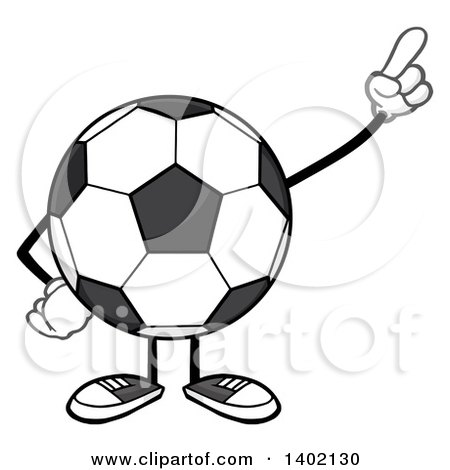 Clipart of a Cartoon Faceless Soccer Ball Mascot Character Pointing or Holding up a Finger - Royalty Free Vector Illustration by Hit Toon