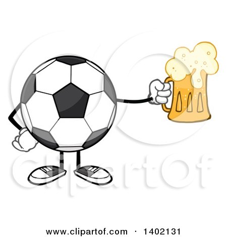 Clipart of a Cartoon Faceless Soccer Ball Mascot Character Holding a Beer Mug - Royalty Free Vector Illustration by Hit Toon