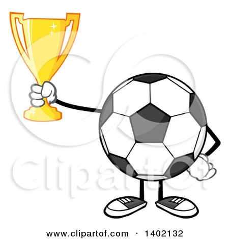 Clipart of a Cartoon Faceless Soccer Ball Mascot Character Holding a Trophy - Royalty Free Vector Illustration by Hit Toon