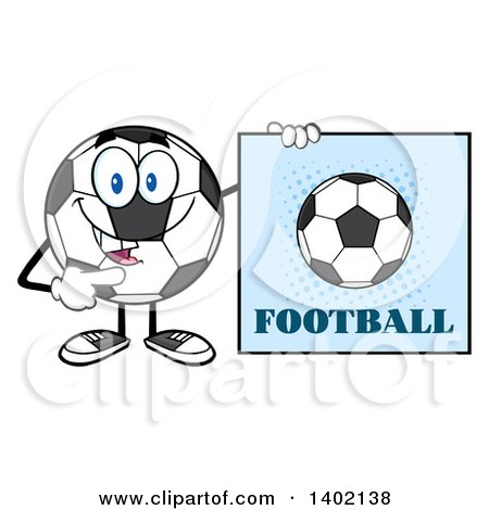 Clipart of a Cartoon Soccer Ball Mascot Character Pointing to a Football Sign - Royalty Free Vector Illustration by Hit Toon