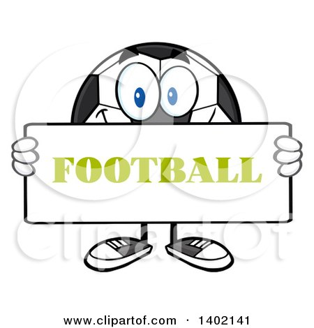 Clipart of a Cartoon Soccer Ball Mascot Character Holding a Football Sign - Royalty Free Vector Illustration by Hit Toon