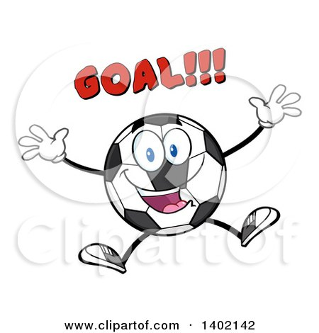 Clipart of a Cartoon Soccer Ball Mascot Character Jumping Under Goal Text - Royalty Free Vector Illustration by Hit Toon