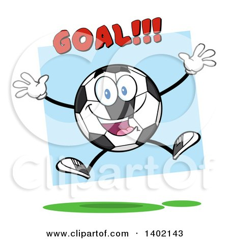 Clipart of a Cartoon Soccer Ball Mascot Character Jumping Under Goal Text, over Blue - Royalty Free Vector Illustration by Hit Toon