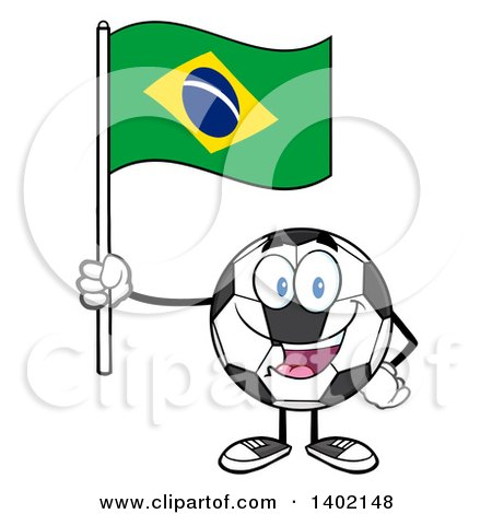 Clipart of a Cartoon Soccer Ball Mascot Character Holding a Brazil Flag - Royalty Free Vector Illustration by Hit Toon