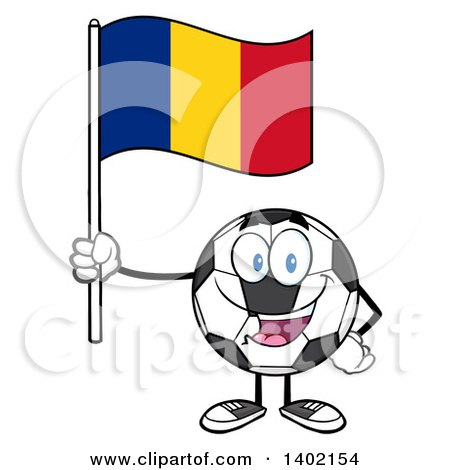 Clipart of a Cartoon Soccer Ball Mascot Character Holding a Romanian Flag - Royalty Free Vector Illustration by Hit Toon
