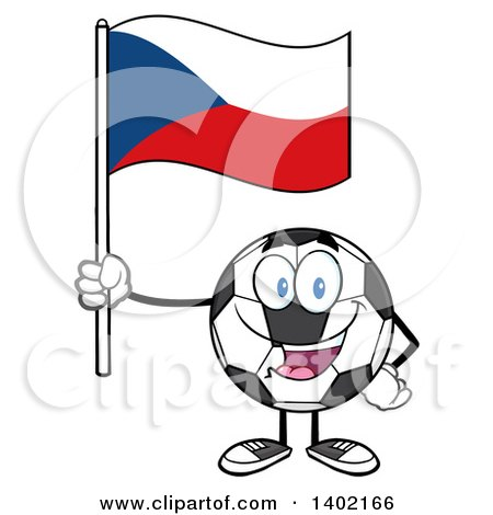 Clipart of a Cartoon Soccer Ball Mascot Character Holding a Czech Republic Flag - Royalty Free Vector Illustration by Hit Toon