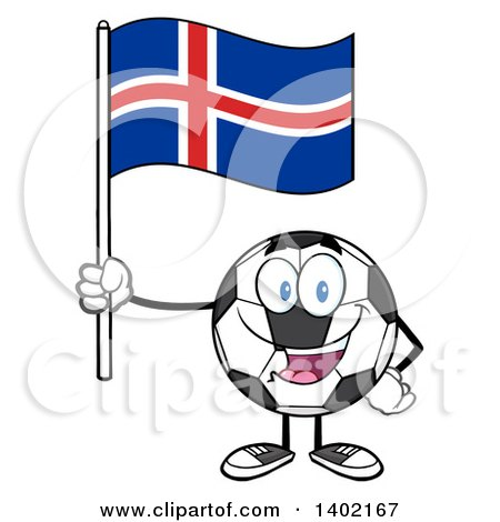 Clipart of a Cartoon Soccer Ball Mascot Character Holding an Iceland Flag - Royalty Free Vector Illustration by Hit Toon