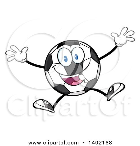 Clipart of a Cartoon Soccer Ball Mascot Character Jumping - Royalty Free Vector Illustration by Hit Toon