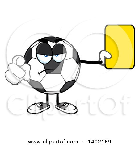 Clipart of a Cartoon Soccer Ball Mascot Character Referee Pointing and Holding a Yellow Card - Royalty Free Vector Illustration by Hit Toon