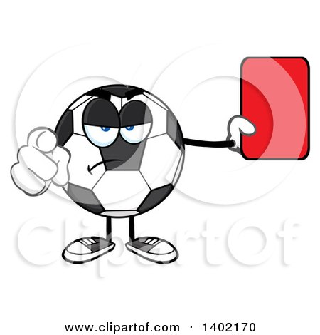 Clipart of a Cartoon Soccer Ball Mascot Character Referee Pointing and Holding a Red Card - Royalty Free Vector Illustration by Hit Toon