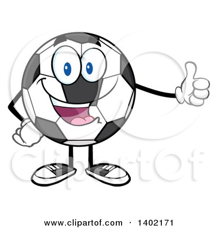 Clipart of a Cartoon Soccer Ball Mascot Character Giving a Thumb up - Royalty Free Vector Illustration by Hit Toon