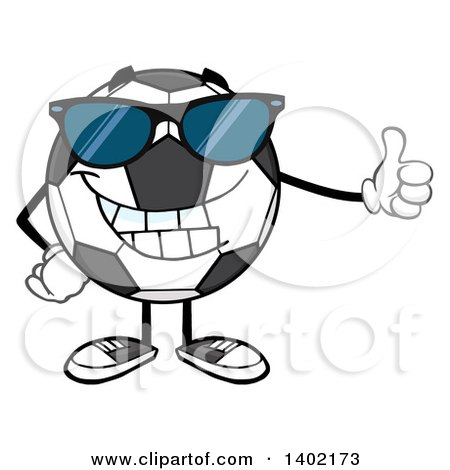 Clipart of a Cartoon Soccer Ball Mascot Character Wearing Sunglasses and Giving a Thumb up - Royalty Free Vector Illustration by Hit Toon