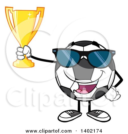 Clipart of a Cartoon Soccer Ball Mascot Character Wearing Sunglasses and Holding a Trophy - Royalty Free Vector Illustration by Hit Toon