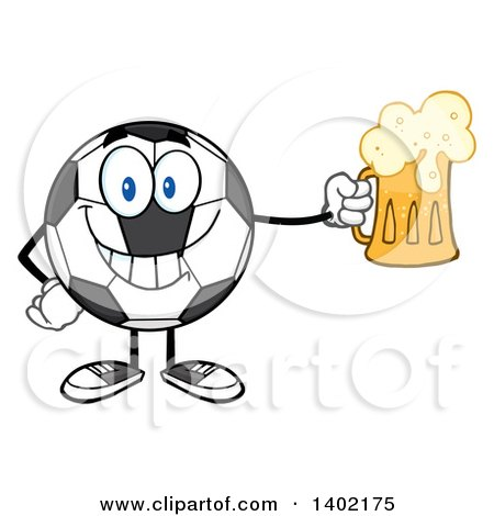 Clipart of a Cartoon Soccer Ball Mascot Character Holding a Beer Mug - Royalty Free Vector Illustration by Hit Toon